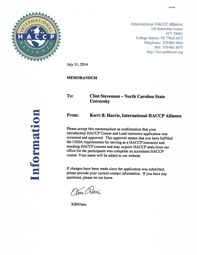 Approval letter stating the NC State University online HACCP course is recognized by the International HACCP Alliance and Dr. Clint Stevenson is a certified lead instructor.