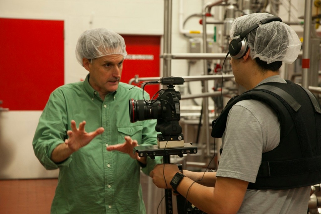 Picture of video director John Gordon talking to video crew